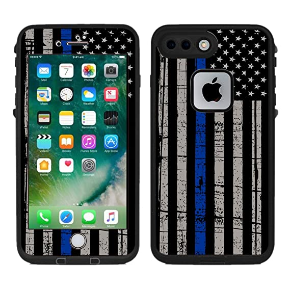 finest selection 7a56c bb450 Protective Designer Vinyl Skin Decals/Stickers for Lifeproof Fre iPhone 7  Plus/iPhone 8 Plus Case -Thin Blue Line USA Police Flag Design Patterns -  ...