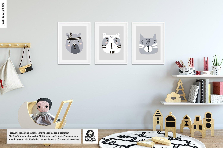 P34 3er-Set Kinderzimmer Poster DINA4 Wandbilder für den Bilderrahmen luvel®