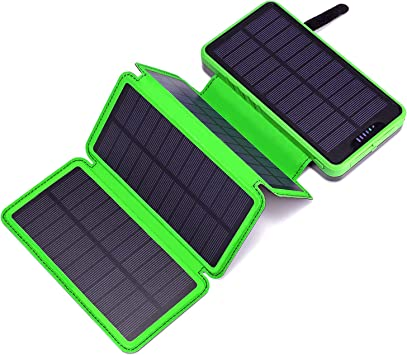 Miady Cargador solar portátil de 25.000 mAh con 4 paneles solares, batería externa impermeable al aire libre con 2 puertos USB para iPhone, Samsung, ...