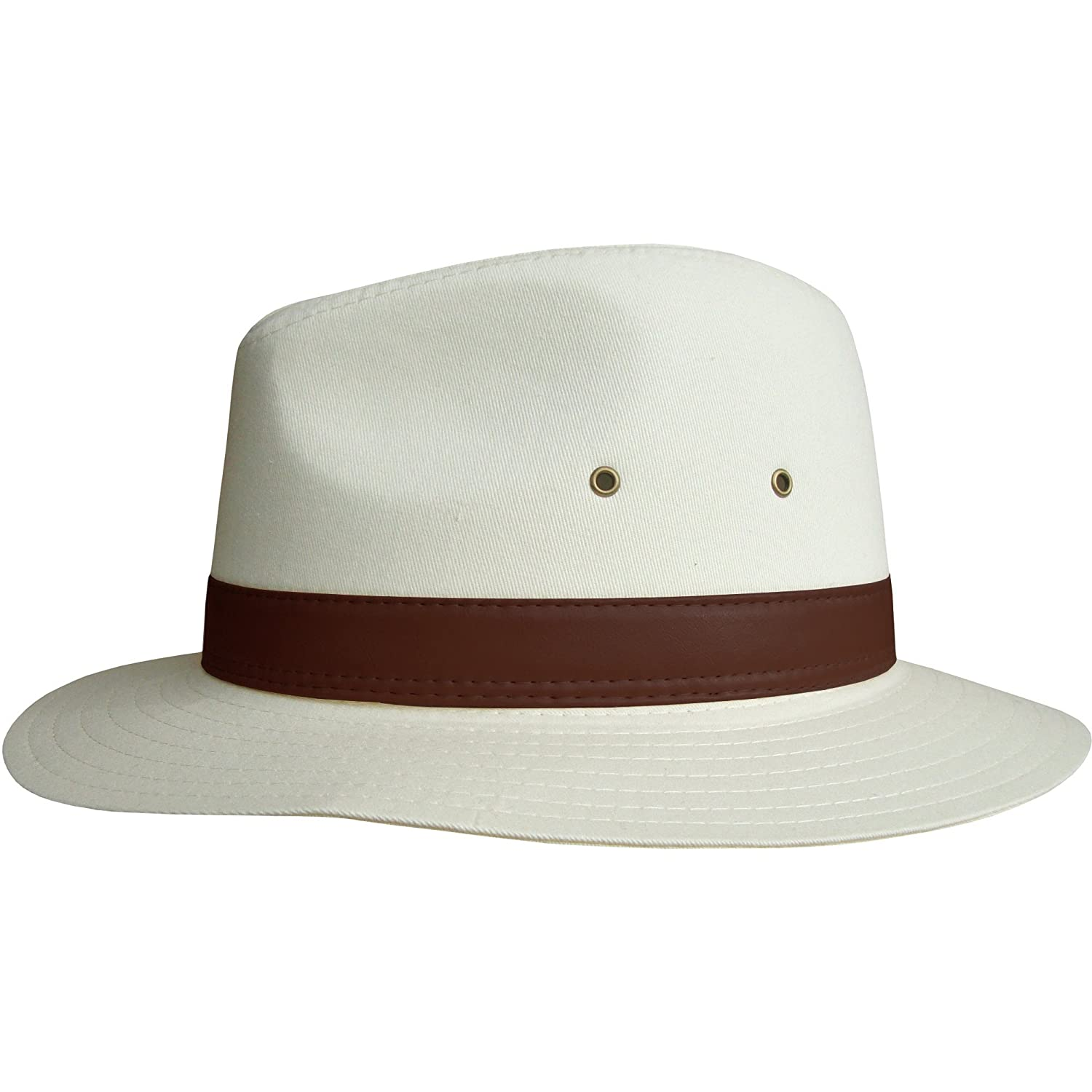 Men's Unisex Natural Fedora Summer Sun Hat with Faux Leather Band