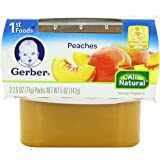 Gerber 1st Foods Peaches, 2.5 oz Tubs, 2 Count (Pack of 8)