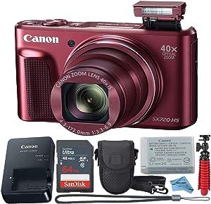 Canon Powershot SX720 (Red) Point & Shoot Digital Camera + Accessory Bundle + Inspire Digital Cloth