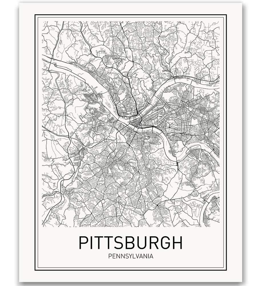 Pittsburgh Poster Pittsburgh Map of Pittsburgh City Map Posters Modern Map Art City Prints Wall Decor Minimal Print Map Poster City Poster City Map Wall Art Minimalist Posters 8x10