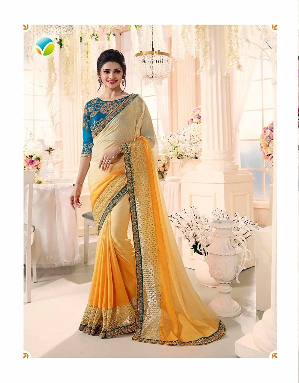 b0ee2362ea Subham Creation Women's latest Fabric Georgette Saree With Banglori Silk  Blouse.: Amazon.in: Clothing & Accessories