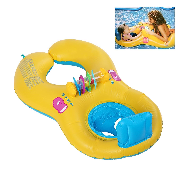 Bañera flotador hinchable doble anillos natación Nager piscina ...