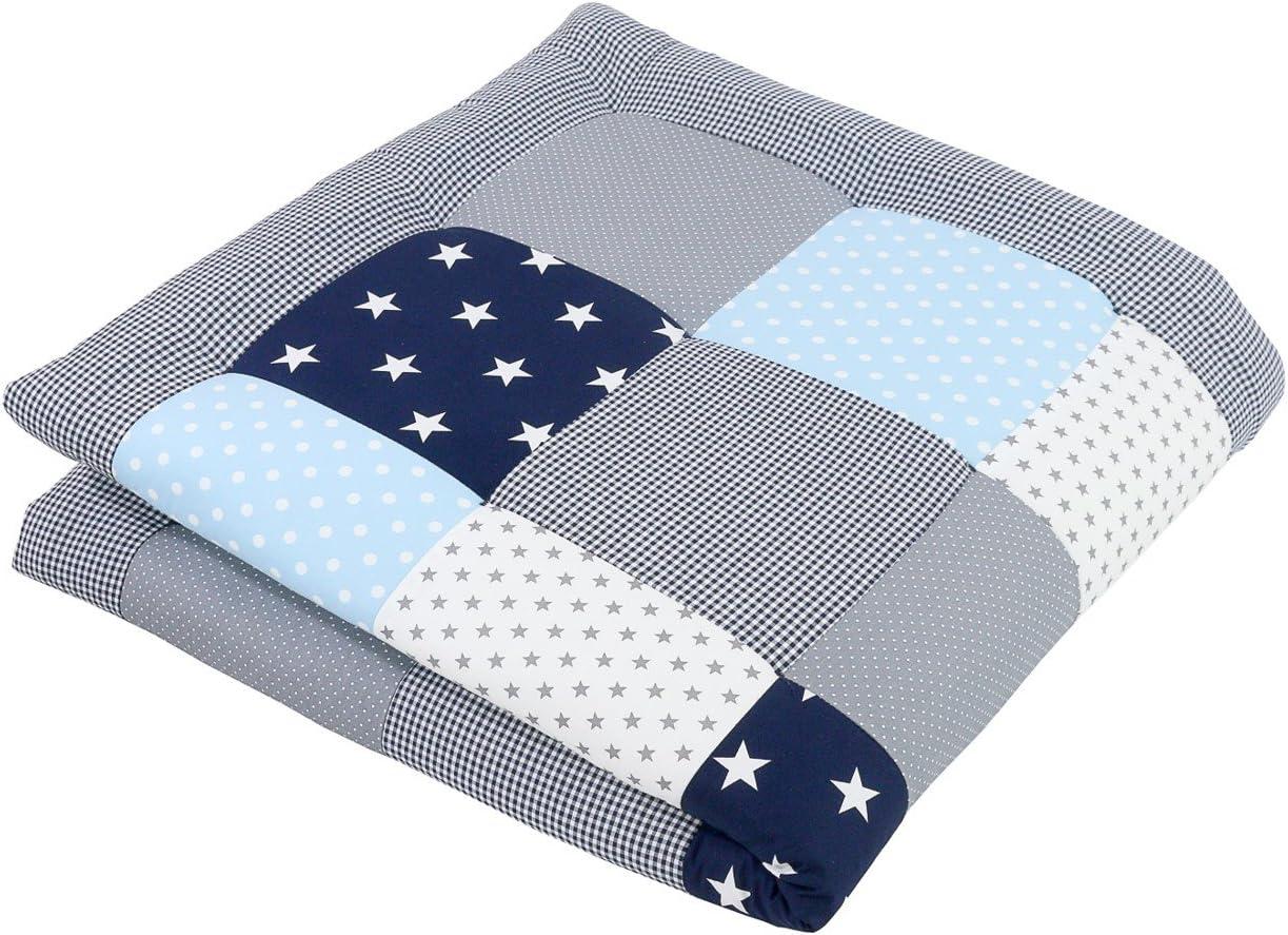 Alfombra para gatear de ULLENBOOM ® con azul claro azul gris (manta para bebé de 120x120 cm; ideal como colcha para el cochecito; apta como alfombra de juegos)