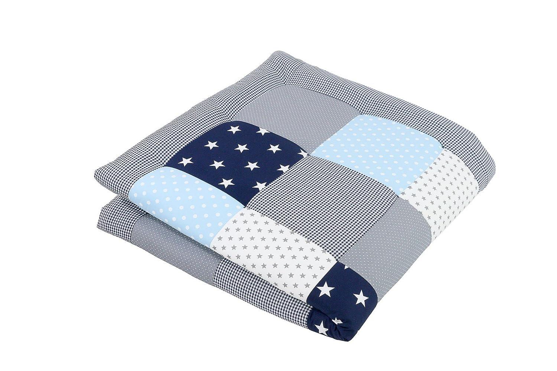 ULLENBOOM ® Baby Krabbeldecke Blau Hellblau Grau (100x100 cm Baby Kuscheldecke, ideal als Laufgittereinlage, Spieldecke, Motiv: Sterne) BHG100