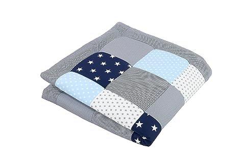 Alfombra para gatear de ULLENBOOM ® con azul claro azul gris (manta para bebé de 100 x 100 cm; ideal como colcha para el cochecito; apta como alfombra ...