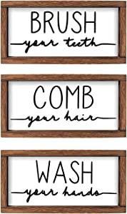 LIBWYS Bathroom Sign & Plaque (Set of 3) Wash Your Hands Brush Your Teeth Comb Your Hair Decorative Rustic Wood Farmhouse Bathroom Wall Decor (White)