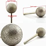 JOINER 10-50 mm Dia Spherical Head Diamond Grinding Bit Coated Mounted Points Round Ball Burs Grit 80 Coarse Tools for Stone