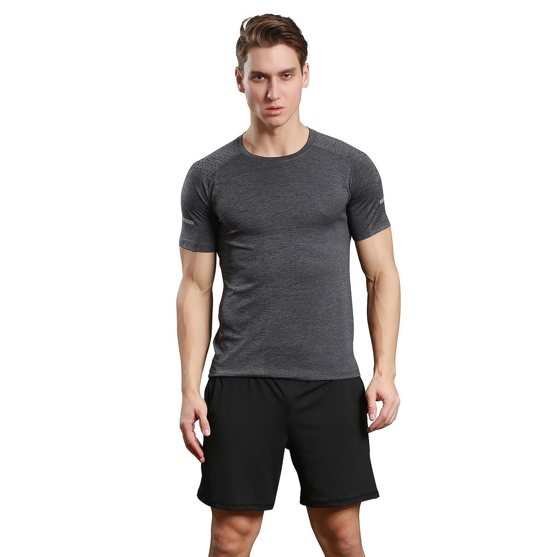 Fzdx Mens Cool Dry Compression Baselayer Short Sleeve T Men39s Digital Circuit Board Tshirt 2xlarge Light Blue Clothing Shirts Grey 2x Large