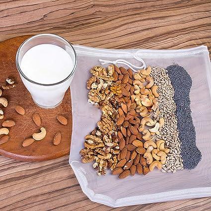 ViVidLife Bolsa de Leche de Nuez, 3x Nut Milk bag Coladores y ...
