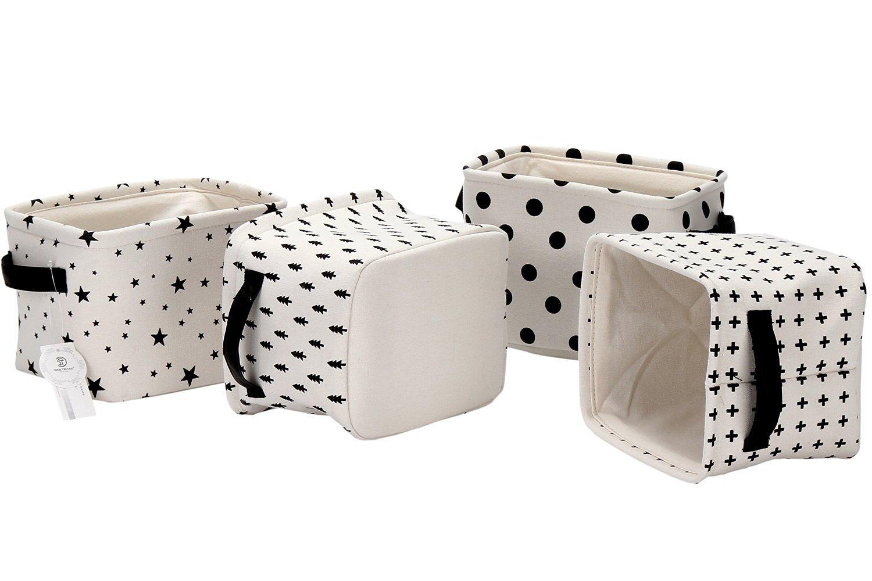 Set of 4 Sea Team Foldable Mini Square New Black and White Theme 100/% Natural Linen /& Cotton Fabric Storage Bins Storage Baskets Organizers for Shelves /& Desks