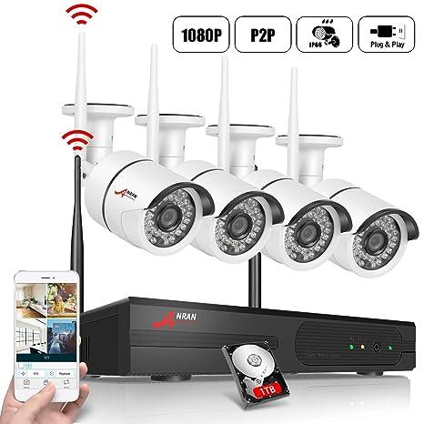 1080P Kit Cámaras de Seguridad Inalambricas, ANRAN 4CH NVR CCTV Kit Cámaras de Videovigilancia WiFi 4Pcs 2MP Cámaras de Vigilancia Impermeable IP66, ...