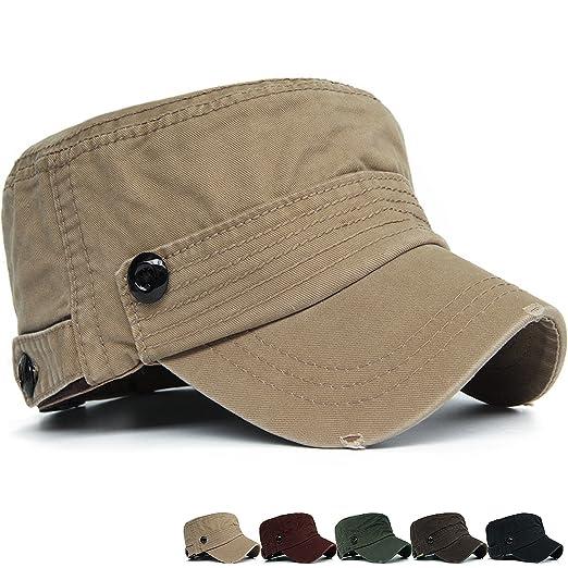 79b8587ebd849 Rayna Fashion Men Women Soft Washed Cotton Adjustable Flat Top Military  Army Hat Cadet Cap Big