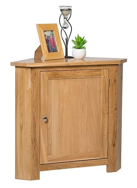 Wellington Oak Waverly Oak 1 Door Small Corner Cabinet In Light Oak Finish  | Low Storage