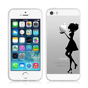 [ Funda iPhone 5/5s y iPhone SE Case ] - Funda JammyLizard De Silicona Gel Transparente Sketch Back Cover, BESO