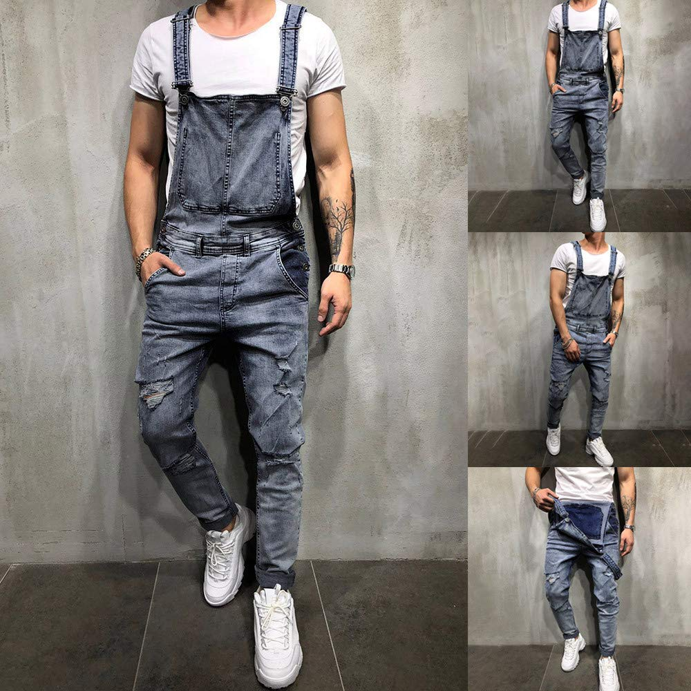 7ff91ea8be00 Teresamoon Men s Overall Casual Jumpsuit Jeans Wash Broken Pocket Trousers  Suspender Pants  Clothing