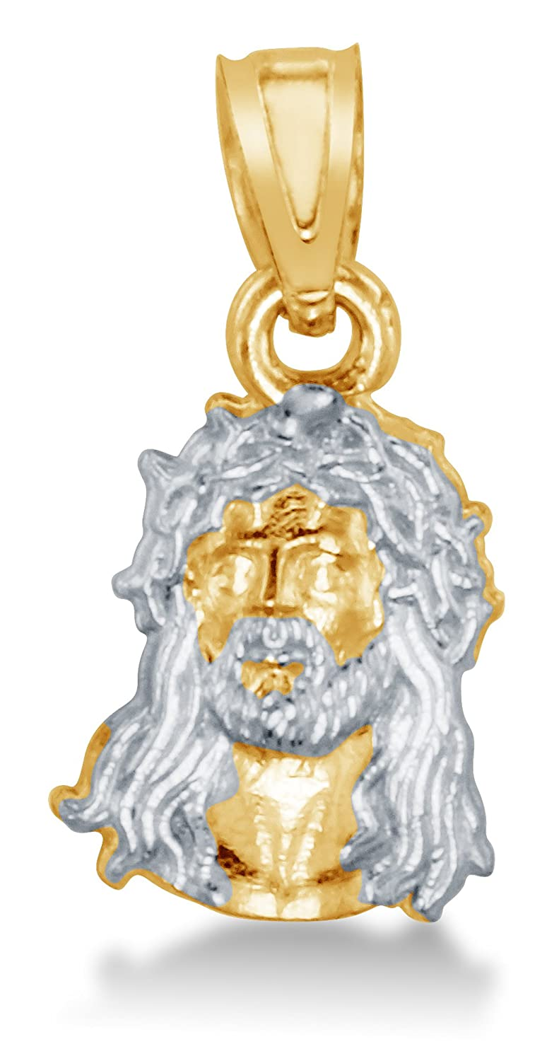 Height = 5//8 , Width = 3//8 Solid 14K Yellow and White 2 Two Tone Gold Jesus Face Small Pendant Charm