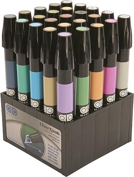Chartpak AD marcadores, tri-nib, 25, director de arte colores en mesa cubo, 1 cada (K), color multicolor 25 Architectural Colors: Amazon.es: Oficina y papelería