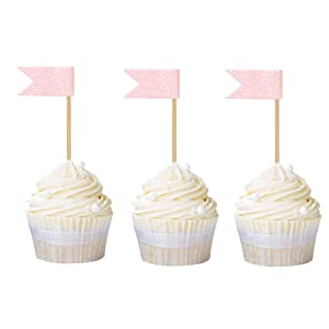 Ercadio 25 Pack Flag Cupcake Toppers Light Pink Double Glitter Cake Picks Baby Shower Birthday Party Cake Decors
