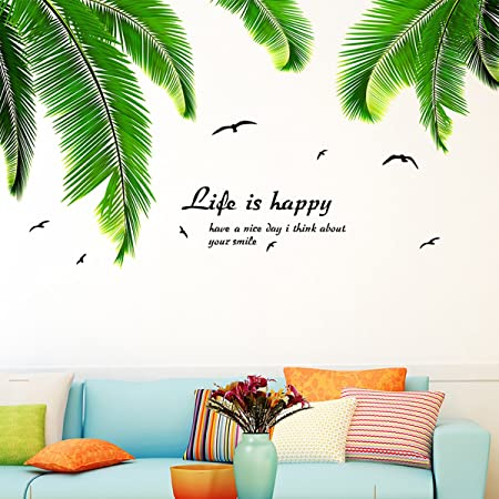 Palm tree leaves wall sticker wall decals for living room homebedroom decor