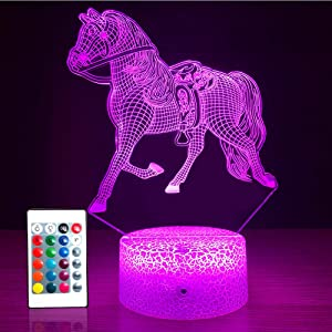 SETIFUNI Horse Toys Night Light for Kids,Horse Gifts for Boys Girls Room Decor with Remote Control & Smart Touch 16 Colors Horse Lamp Birthday Gifts or Christmas Gifts for Boys Girls Lovers Adult