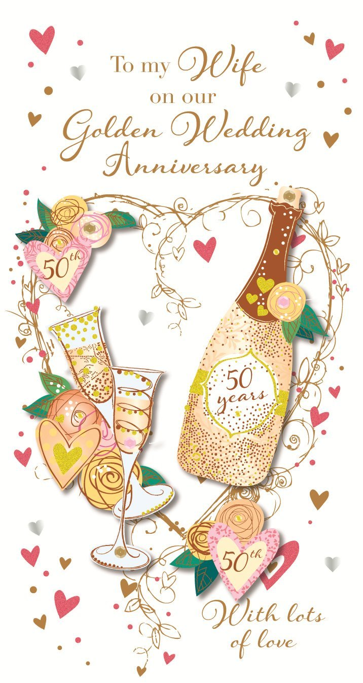 Amazon Wife Golden 50th Wedding Anniversary Greeting Card By