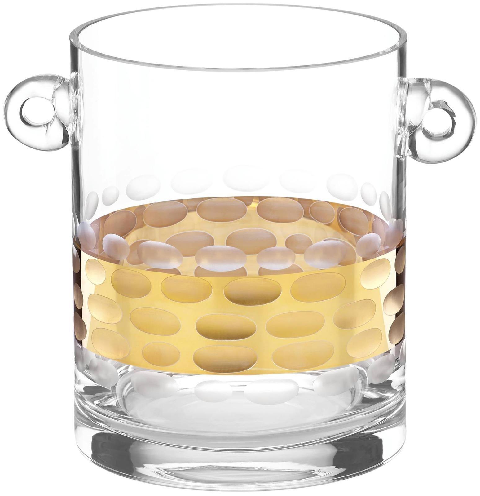 Michael Wainwright Truro Glass Ice Bucket With Tongs, Gold
