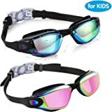 Aegend Kids Swim Goggles, Pack of 2 Swimming Goggles for Children Boys & Girls Age 3-9, Silicone Nose Bridge, Clear…
