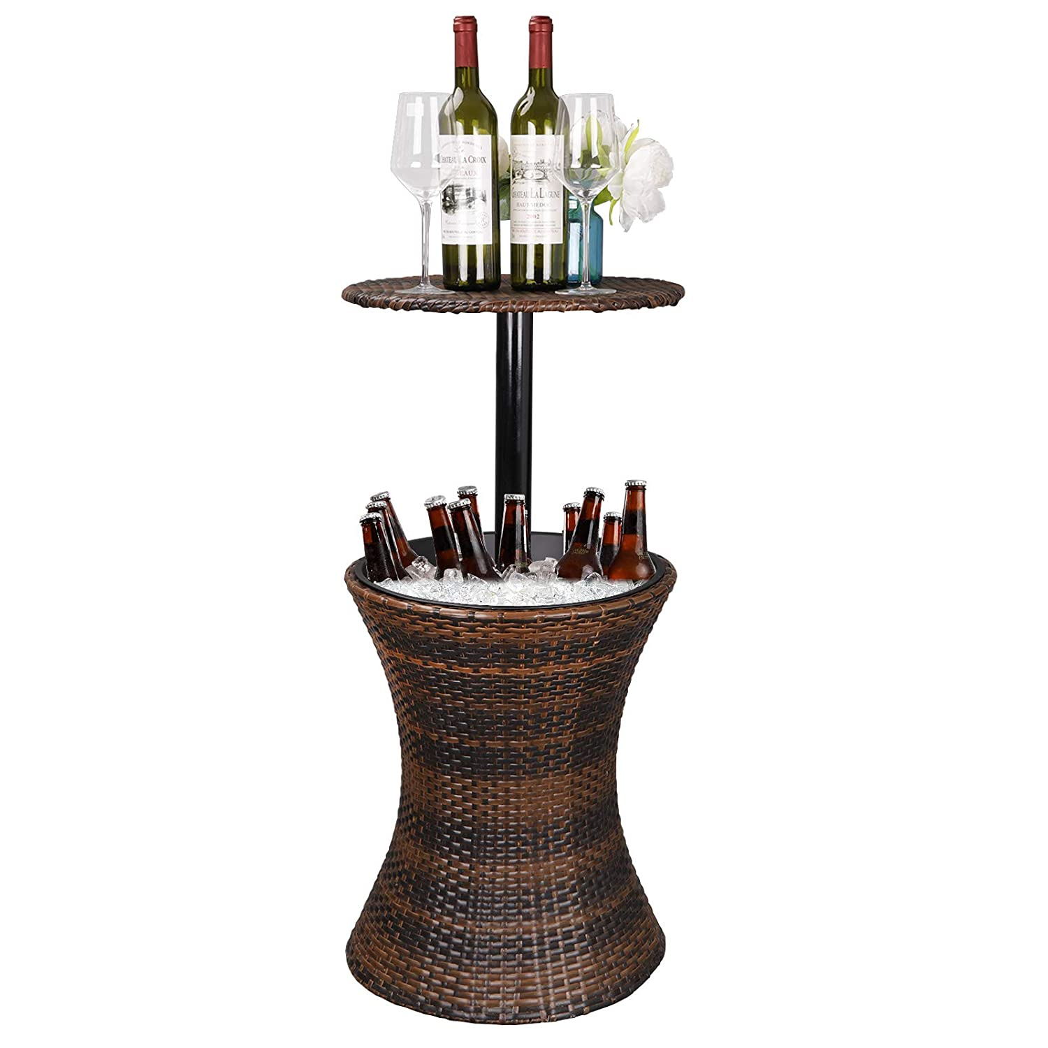 Super Deal 3in1 All-Weather Wicker Bar Table + Ice Bucket + Cocktail Coffee Table All in One, Rattan Style Adjustable Height Patio Party Deck Pool Use, Brown