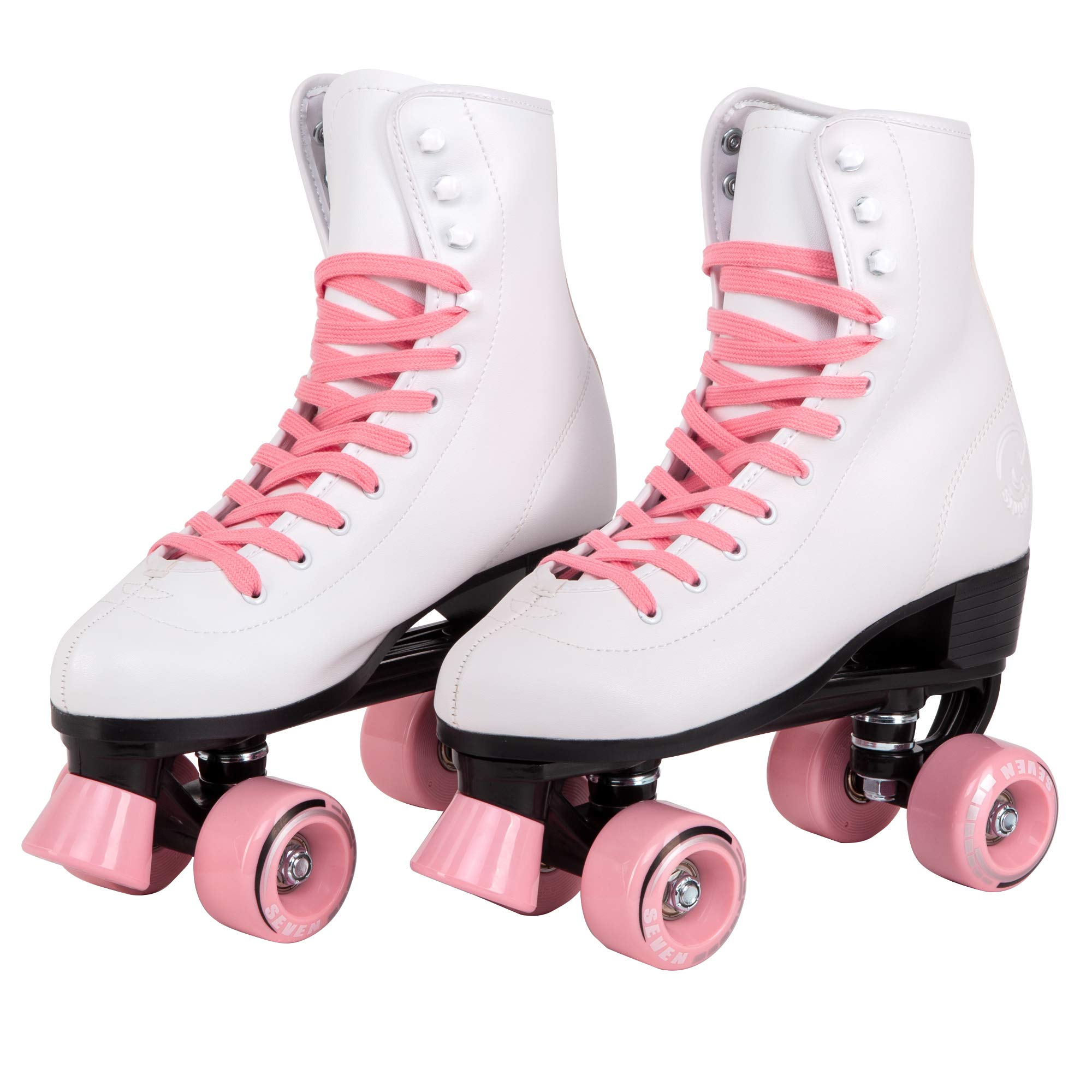 C7 Classic Roller Skates | Retro Soft Boot with Faux Leather | Speedy Quad Style for Men, Women and Kids (Coral/Youth 4 / Women's 5)