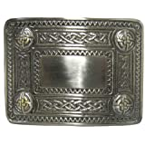 Tartanista Mens Scottish DeLuxe Kilt Belt Buckle Chrome With Gold/Brass Lion