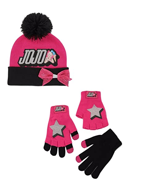 f354deb2b65 JoJo Siwa Beanie Hat and Gloves Cold Weather 5 Piece Set  Amazon.ca   Clothing   Accessories