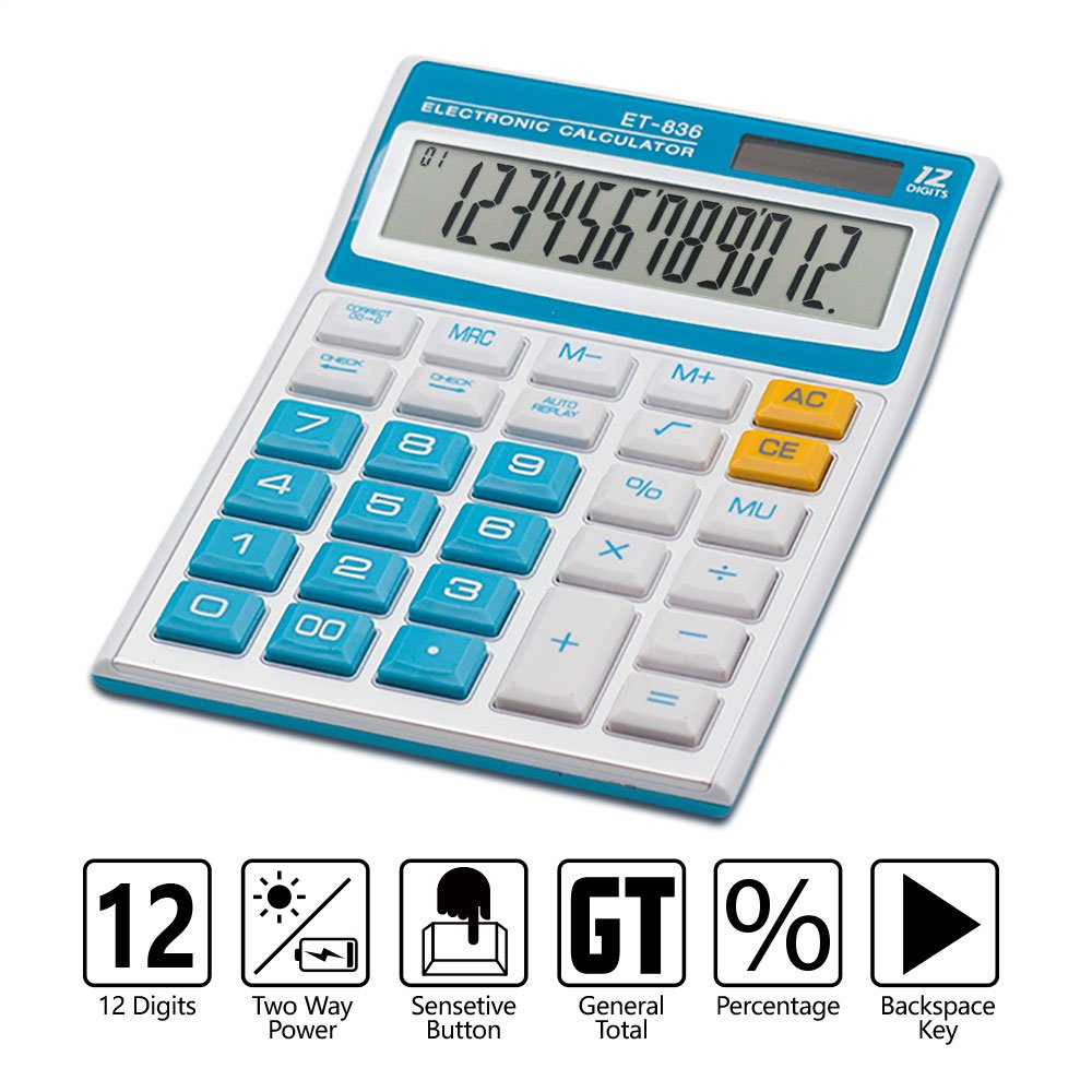 Calculator,12-Digit Desktop Basic Calculator, Solar Battery Dual Power with Large LCD Display and Large Buttons Office Calculator by Ebristar - Blue