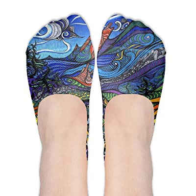 Colorful Artistic Paint Art DIY Printed Pattern Casual Low Cut Socks No-show Liner Invisible Polyester Cotton Sock For Ladies (One Pair)