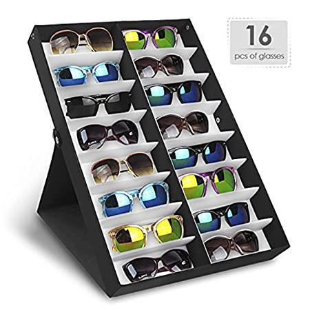 Amzdeal Sunglasses Display Case 16 Pieces Eyeglasses Storage Case With  Folding Lid For Glasses, Jewellery