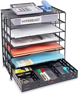 Univivi Office Desk Organizer, 6-Tier Mesh Letter Trays with Sliding Drawers,Metal File Desktop Paper Tray Organizer / Screws Free Design,Black