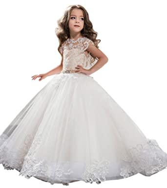 Amazon.com: Carat Kids Prom Long Wedding Party Dress Lace Overlay ...