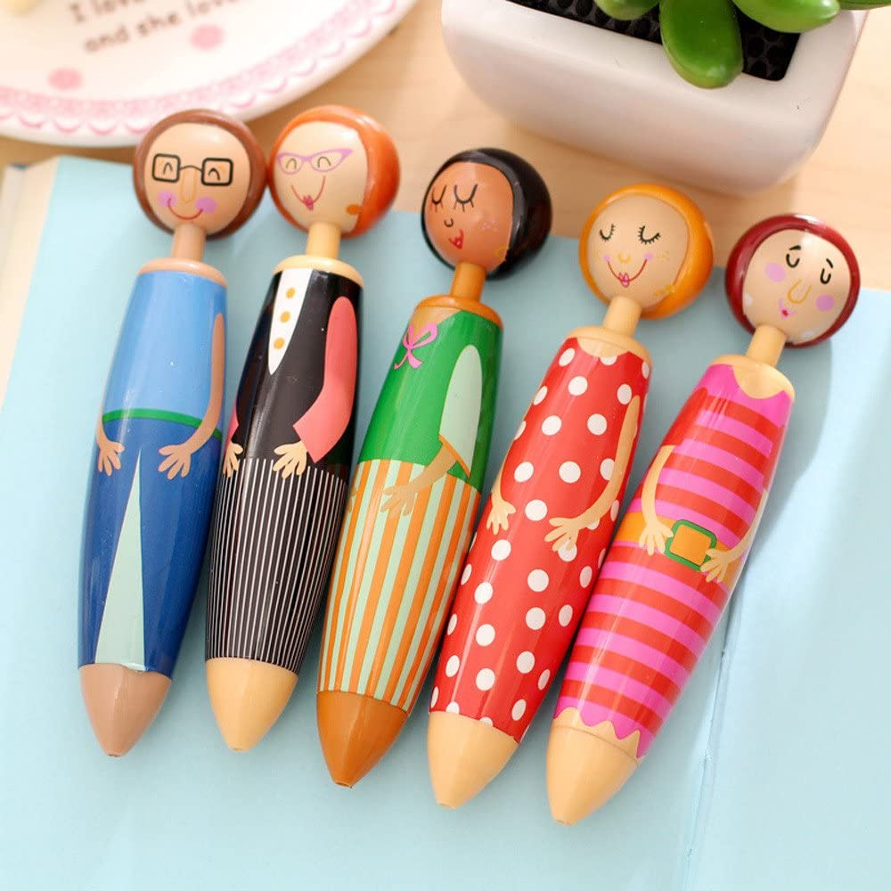 5Pcs Lovely Doll Shape Pen Blue Ball-point Student Stationery Ball-Point Pen Clearances Office Stationery Accessories Home 4th of July Decorations Gifts On Sales