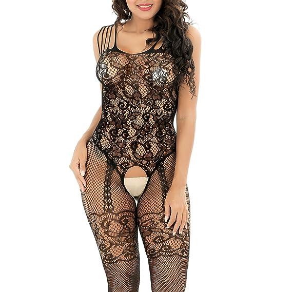 362ab0a8f8711 Shmimy Bodystockings Damen elastische Mesh Netz Strumpfhose Dessous ...