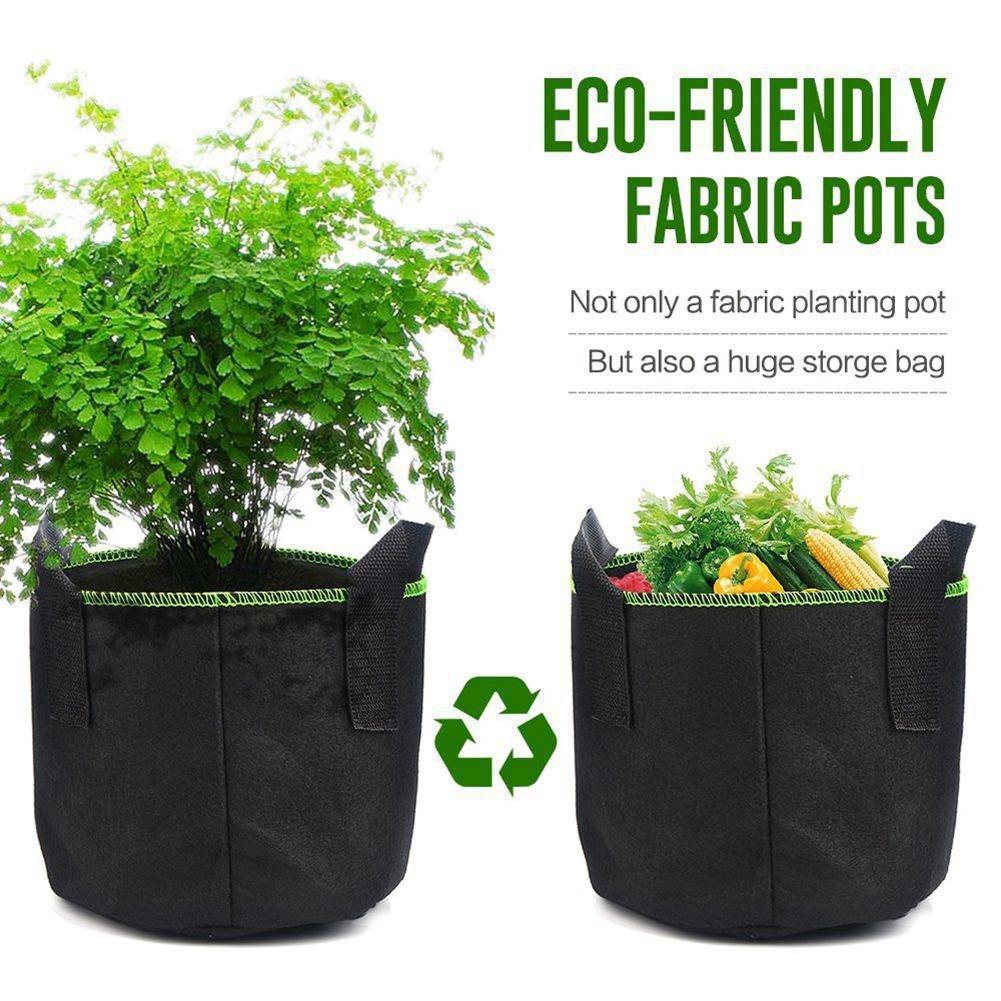 SODIAL Bolsas de cultivo de plantas, 4 paquetes de 5 galones Bolsa de tela No tejido de Tela de Aireacion Para Planta de vegetales de flores Macetas del ...