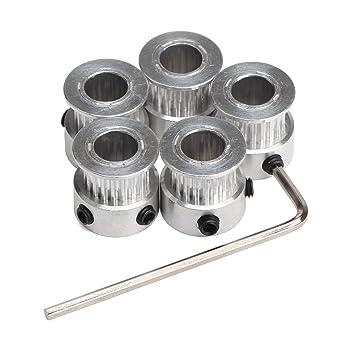DollaTek 5PCS Aluminio GT2 polea de la correa dentada 20 dientes perforados 8 mm de ancho