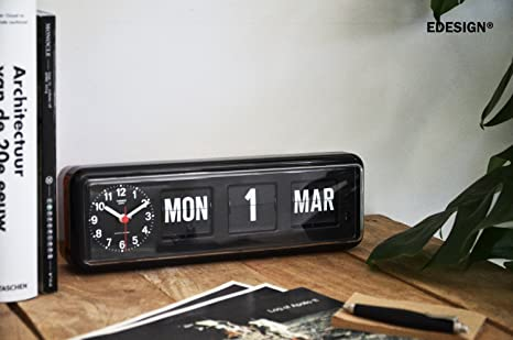 Perpetual Calendar Twemco Flip Clock BQ-38 in Black. Cita en inglés. Twemco