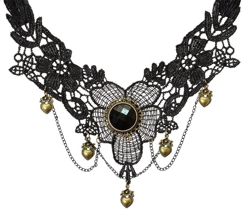 Women Black Lace Flower Chain Tassel Choker Collar Necklace Gothic Punk ST