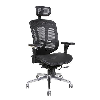 Thorntonu0027s Office Supplies ErgoExec Black Mesh Metal/Plastic Rolling Swivel  Height Adjustable Executive Computer