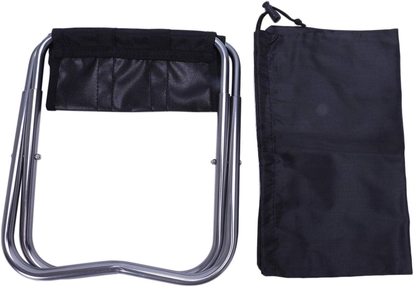 REFURBISHHOUSE Portable Chaise Pliant en Aluminium Oxford Tissu Patio Exterieur Peche Camping avec Sac de transpport Noir