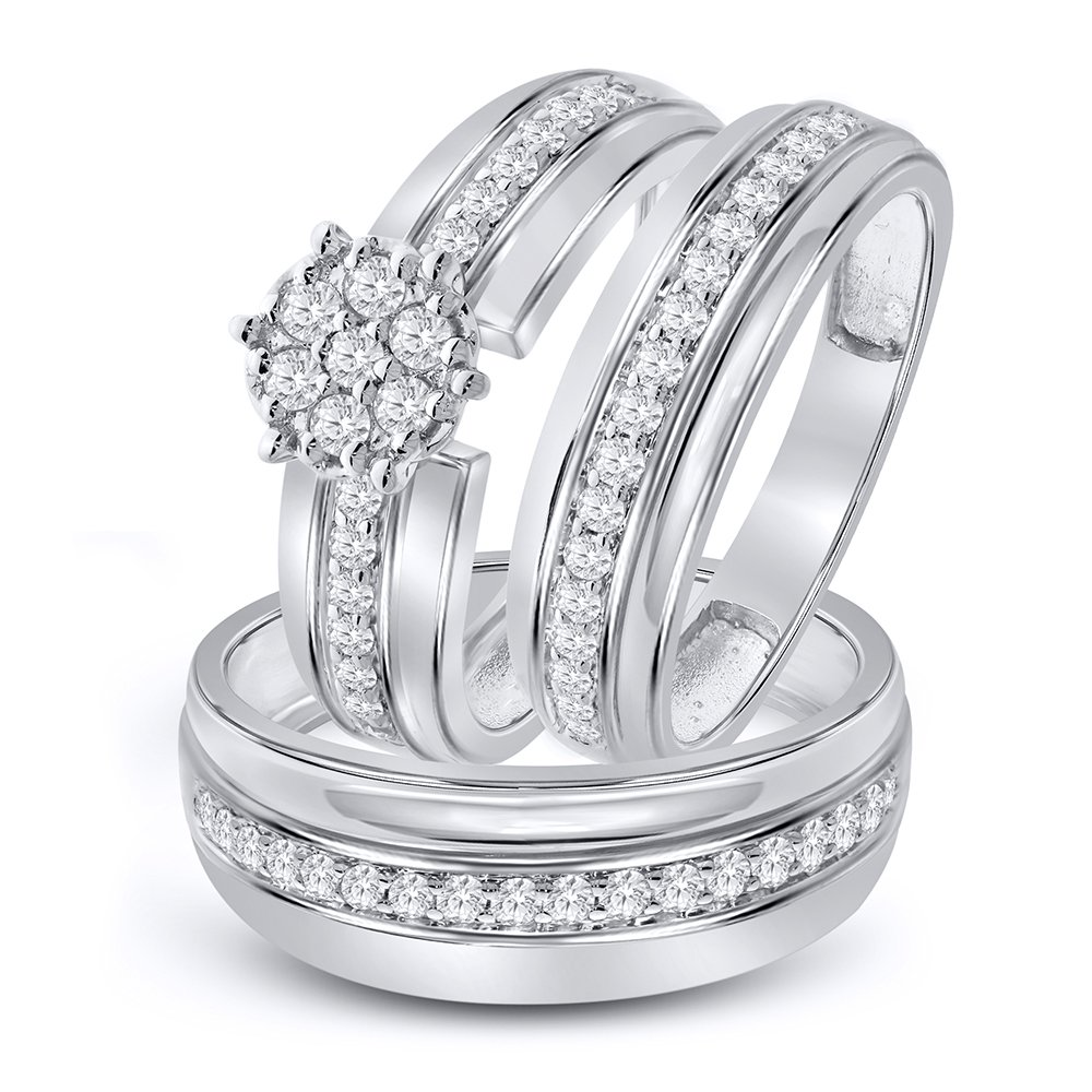 5/8 cttw Simulated Diamond Sterling Silver Wedding Ring Trio Ring Set Him US10 and Her US7