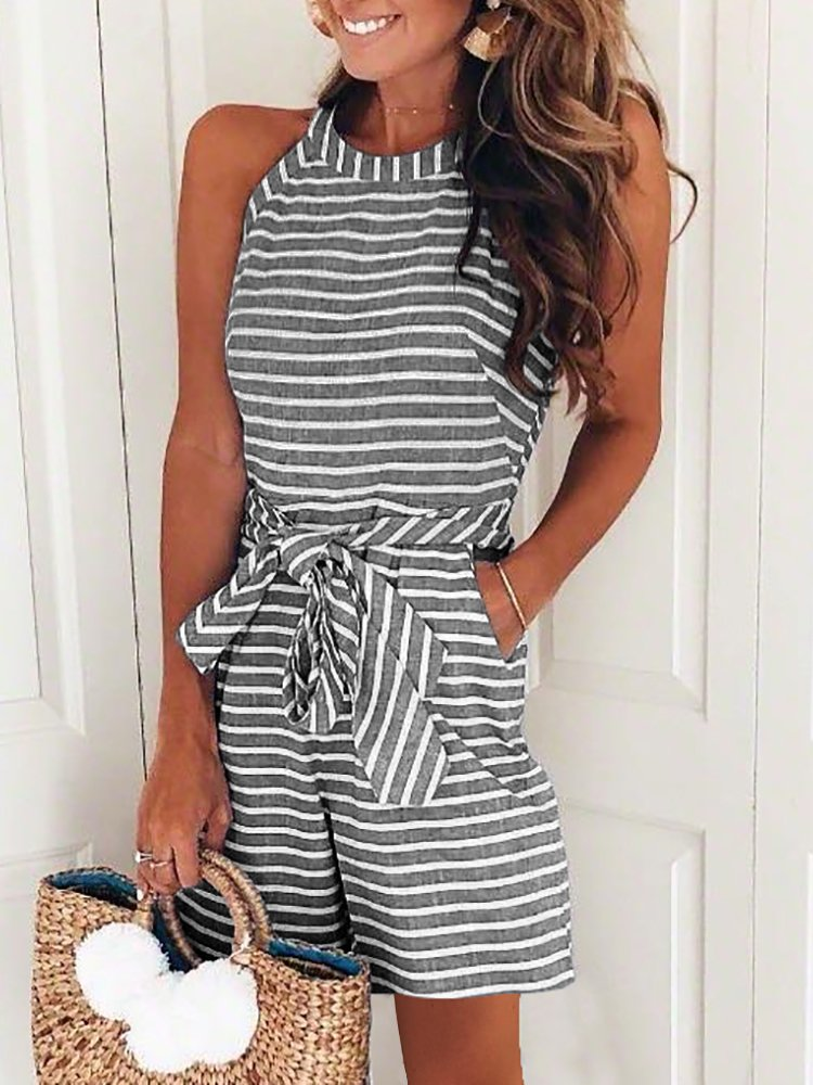 DUBACH Women Casual Striped Sleeveless Short Romper Jumpsuit L Gray by DUBACH (Image #2)
