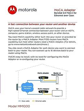 MOTOROLA MOCA Adapter for Ethernet Over Coax, 1,000 Mbps Bonded 2 0 MoCA  (Model MM1000)